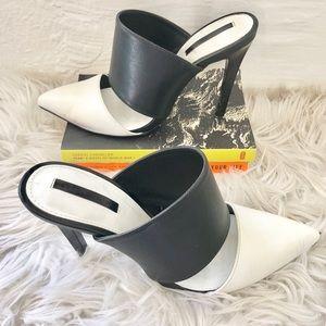 🖤ZARA BLACK AND WHITE SANDAL HEELS 7.5🖤